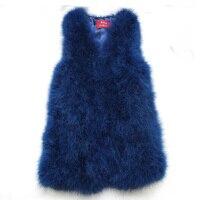Women Winter encryption 100% natural ostrich feathers turkey feather fur vest vest fur coat Fur Coat