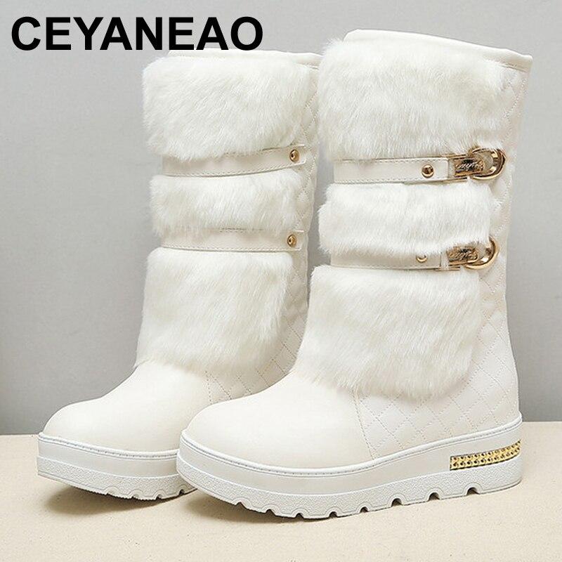 Office & School Supplies Ceyaneao Promotion Large Size Women Winter Boots Fashion Hidden Wedges Warm Fur Shoes Woman Platform Med-calf Snow Boots E1469 Rapid Heat Dissipation