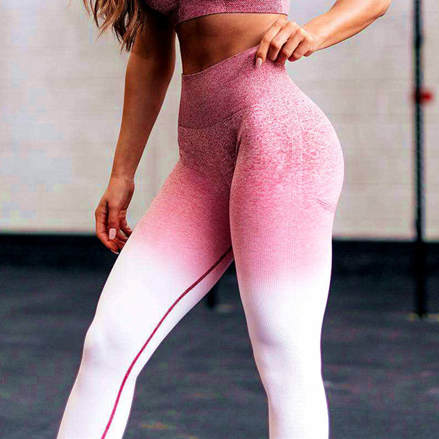 6fc1aff75ae29 New Stretchy Gym Sexy Seamless Leggings Tummy Control Pink Pants High Waist  Sporting Leggings Running Women Athleisure Pants