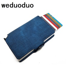Men And Women Rfid Wallet Metal Credit Card Holder PU Leather Card Holder With Card Case Automatic Money Cash Clip Mini Wallet high quality credit card holder automatic card sets business aluminum wallet solid color card sets card wallet cash clip holder
