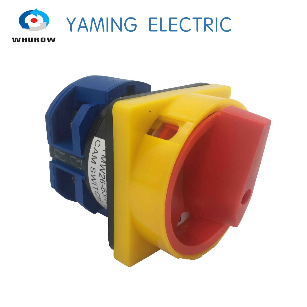 690V 63A Padlock Changeover Rotary Switch ON/OFF 2 position 1P 2 terminals padlock switch emergency stop YMW26-63/1GS ui 660v ith 125a on off 2 position rotary cam changeover switch lw28 125 3