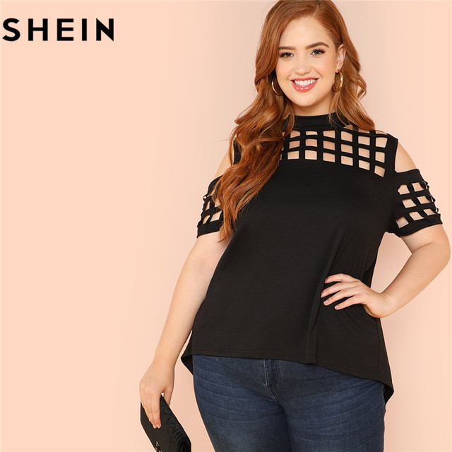 777ea5b8a8 SHEIN Black Casual Cold Shoulder Cut Out Plus Size Woman T-shirt Summer  Fashion Hollow Out Asymmetric Solid Tops Tees