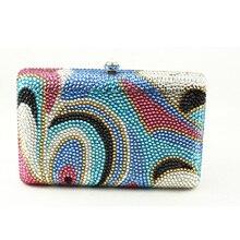 2016 europäischen und Amerikanischen Luxus Handtasche Flap Crystal Womens Clutch multi-color Mini Box Clutch Handtasche für Abend-partei