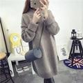 Camisolas de Gola Alta de Inverno das mulheres de Malha Solta Semi Vestidos de Mulheres Espessamento Longo Pulôver Vestido de Camisola