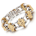 Gold  Men 's Stainless Steel Bracelet Men' s Lion 's Head Bracelet European and American Alternative Bicycle Bracelet