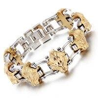 Gold Men S Stainless Steel Bracelet Men S Lion S Head Bracelet European And American Alternative