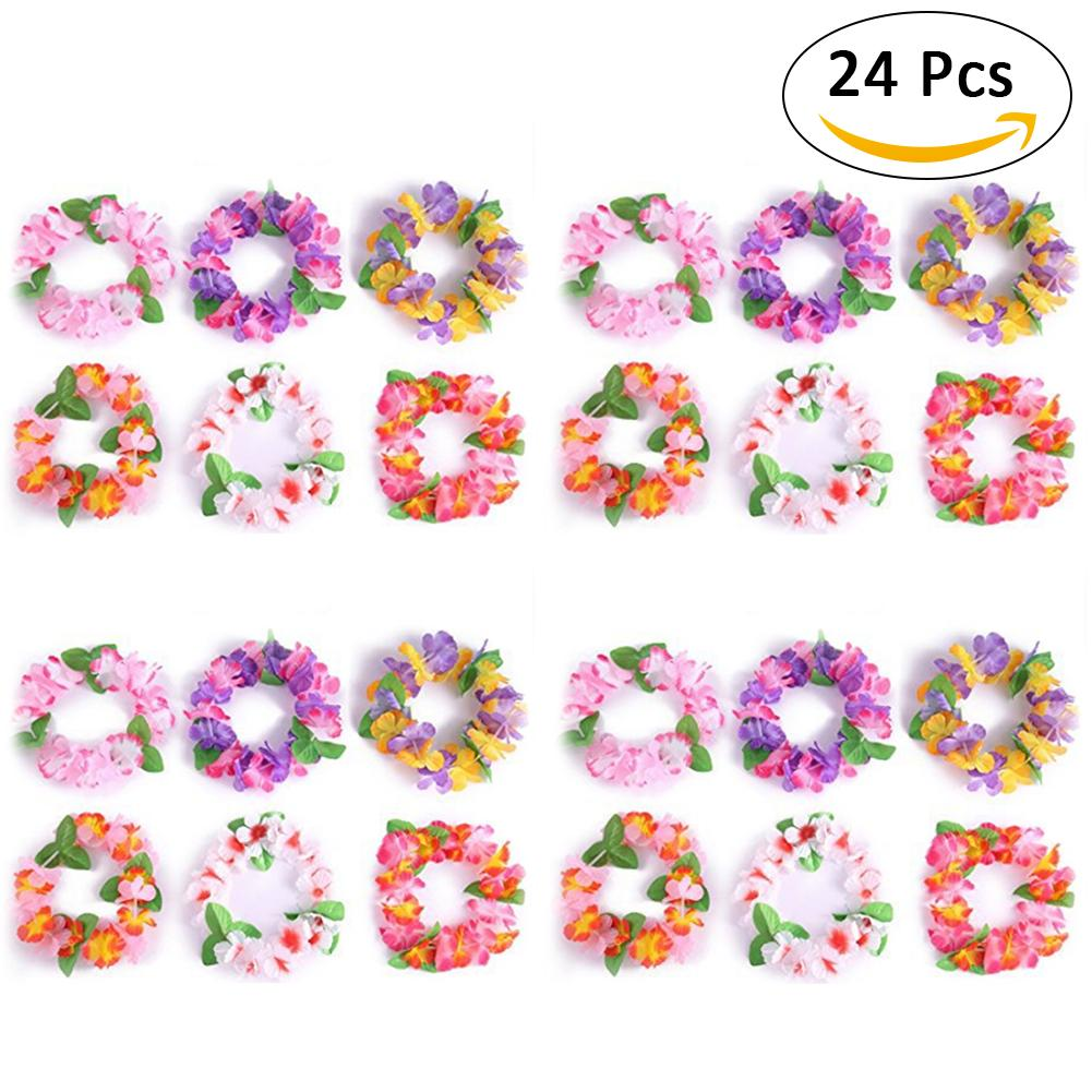 24pcs/set Flower Wreath Party Wreath Headpieces For Kid's Party Wedding Decoration Nice Props For Photo Taking Dia 45cm