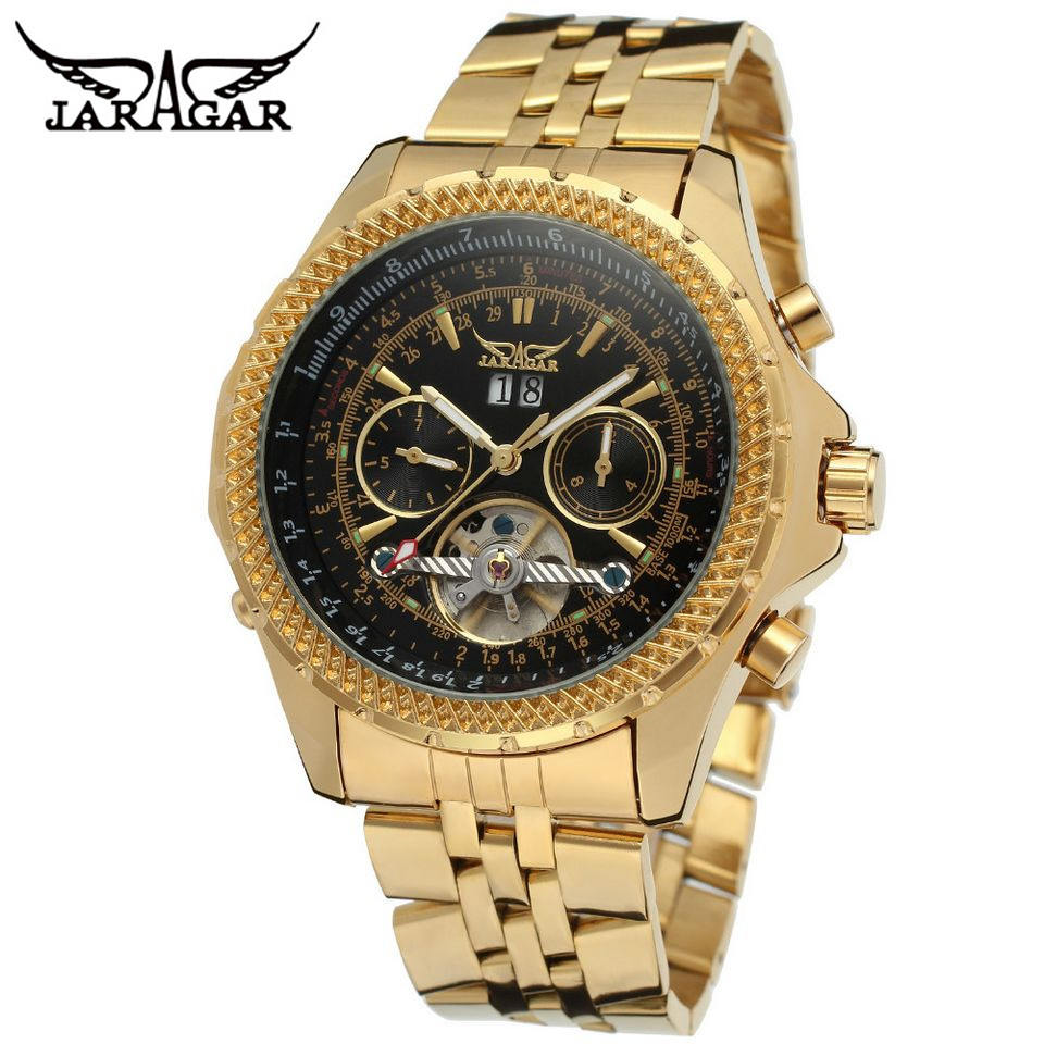 jaragar montre femme marque de luxe mens golden automatic mechanical date tourbillon wrist watch. Black Bedroom Furniture Sets. Home Design Ideas