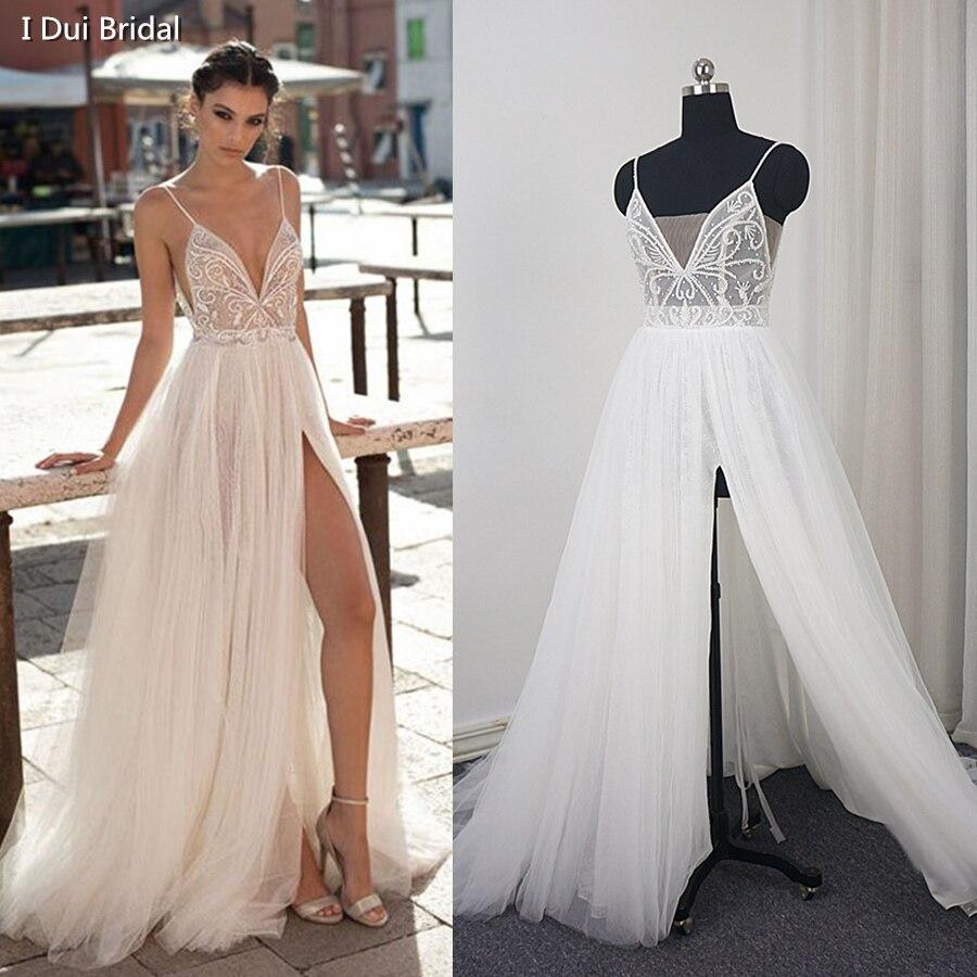 De Courroie de gaine Fendue De Mariage Robe avec De Luxe Perles Tulle Couche Romantique 2018 Nouveau Style