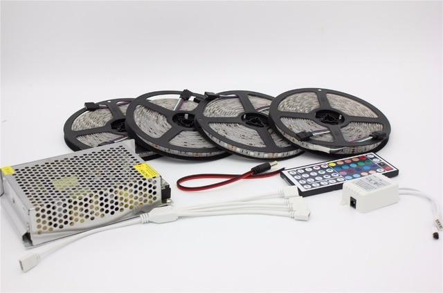 10M 20M DC12V Waterproof RGB LED Strip Light Flexible SMD 5050+ IR 44 Keys Remote Controller + 12V  Power Supply Transformer