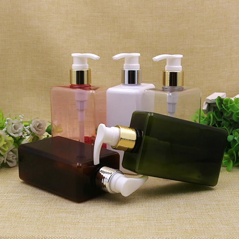 24X300ml Multicolor square press pump cream lotion plastic bottles shampoo pump bottle 300cc shower gel pump