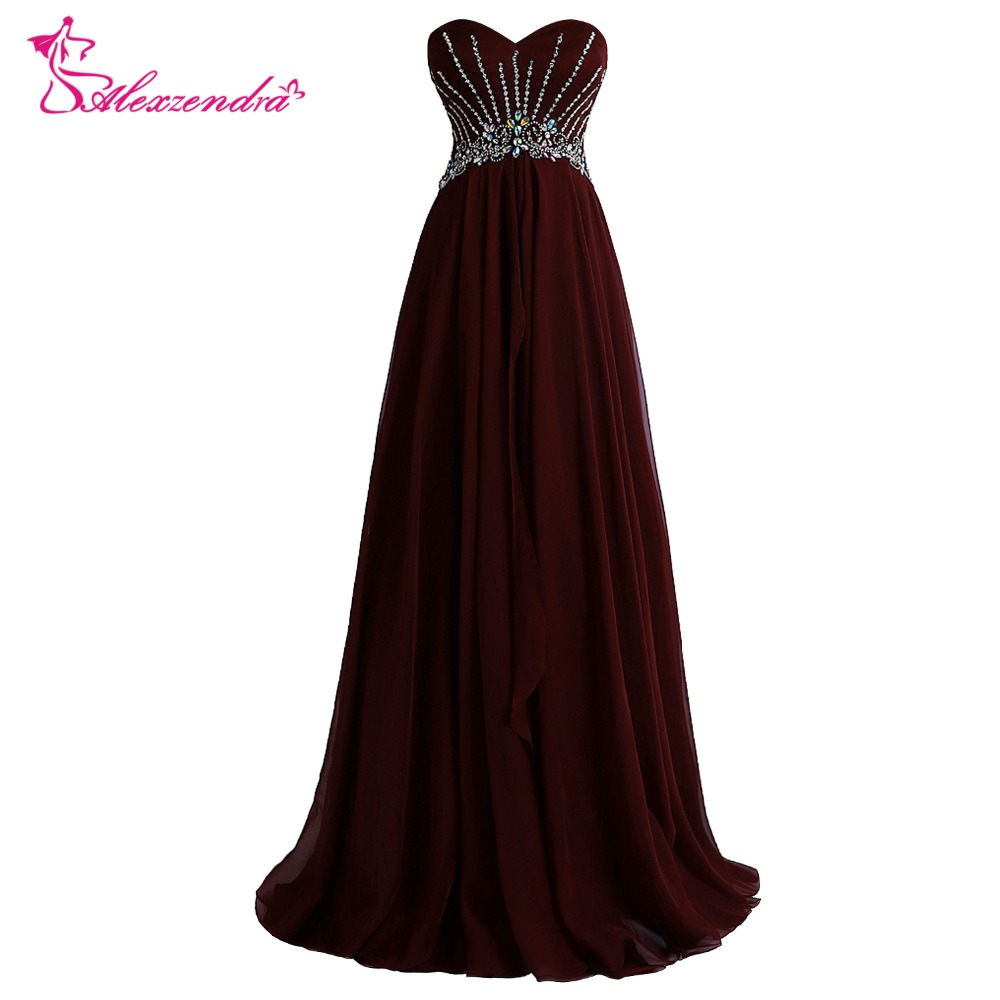 Alexzendra Chiffon Sweetheart Beaded Long   Prom     Dresses   Elegant Long Evening Gowns Party   Dress   Plus Size