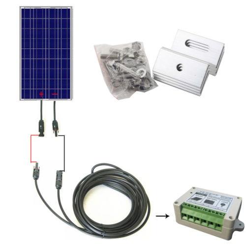 USA Stock 100Watt Complete Kit: 100W Solar Panel+10M Solar Cable+15A PWM Charge Controller+Z Bracket Mounts цена