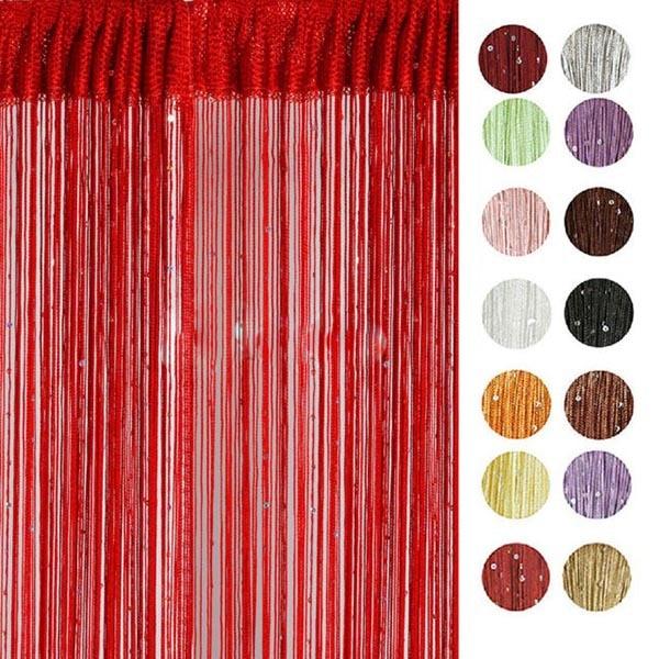 Одноцветное Цвет строка Шторы с бисером блесток spangle бахрома Панель номера дверь делитель Новый