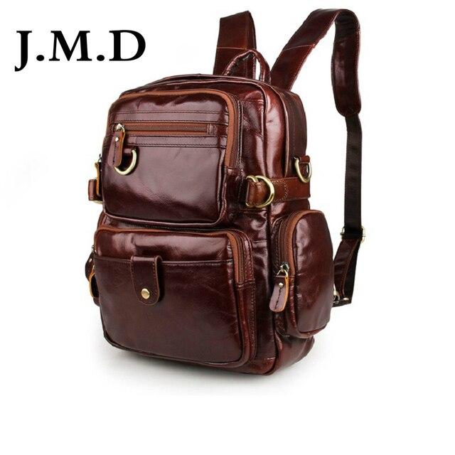 J.M.D 2019 New High Quality 100% Genuine Leather Unisex Stylish Backpacks For College Popular Bag Shoulder Bag 7042