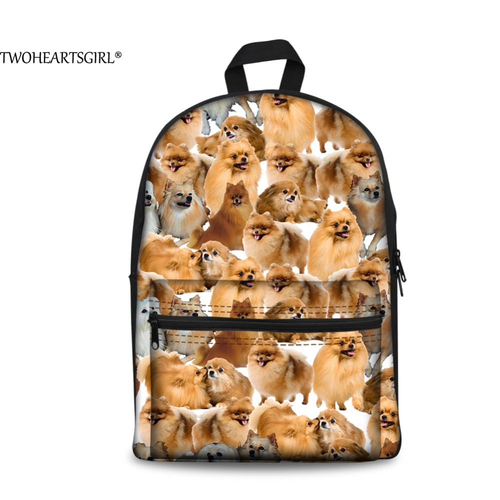 TWOHEARTSGIRL Pomeranian Cute 3D Printing Canvas Backpack Girls Casual Backpack Husky Dog Lovely Cats Animal School Back Pack ...