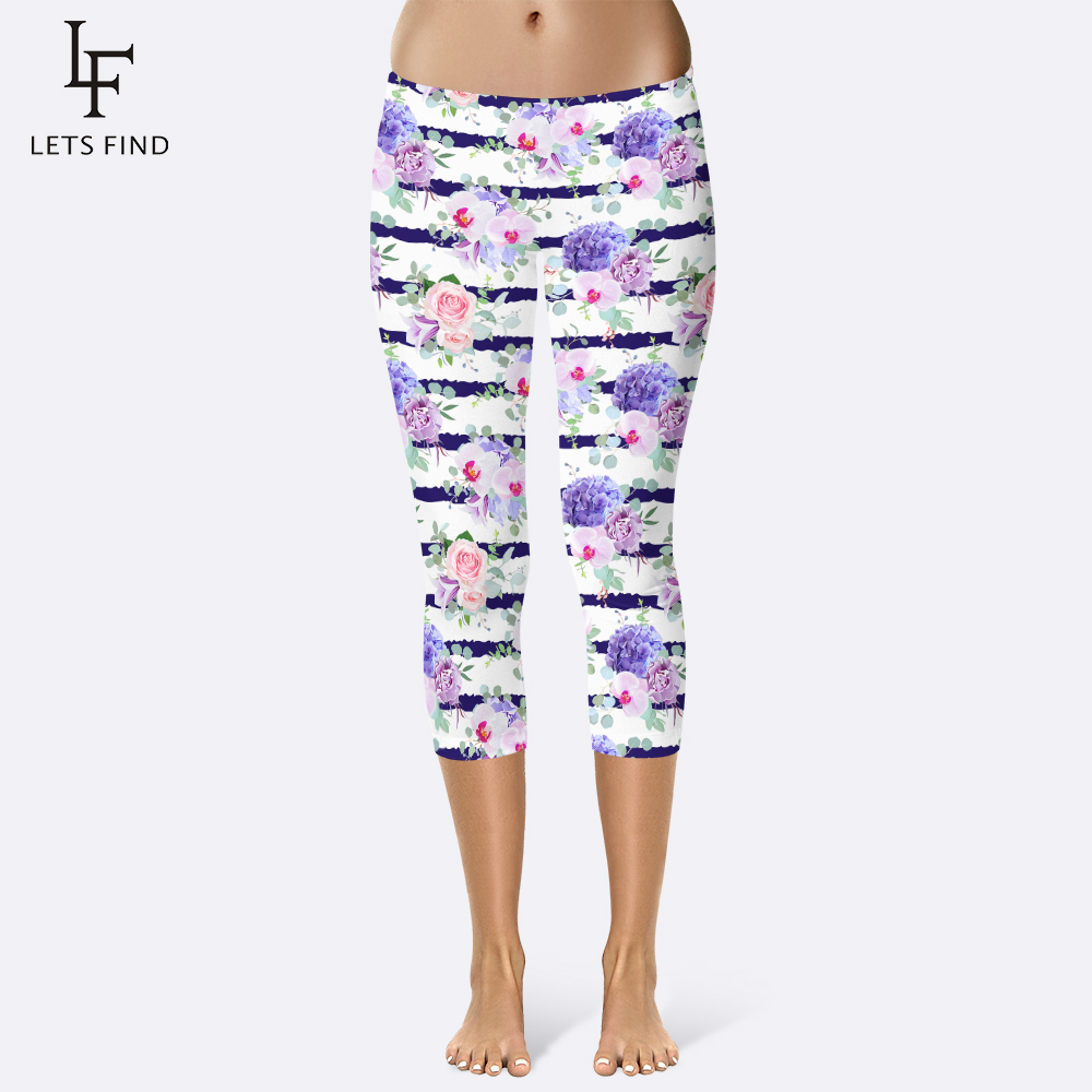 2019 New Women Striped Flower Capri Leggings Summer Workout  Fitness Legging Soft Pants Rose Print Fashion Women Pants