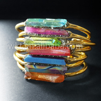 WT-B212 New  IPG Gold Trim Brass Rainbow Aqua Aura Stone Crystal Point Bangle  Pyrite Handmade Natural crystal Stone Jewelry