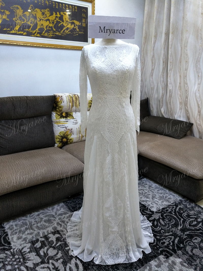 d18ffe73dd27 Lace Bohemian Wedding Dresses Unique French Lace Long Sleeve Boho Wedding  Dress Open Back Bridal Gowns ...