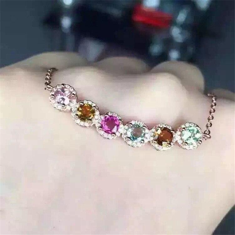 KJJEAXCMY boutique di gioielli argento 925 placcato oro rosa con tormalina naturale clavicola collana chain. - 3