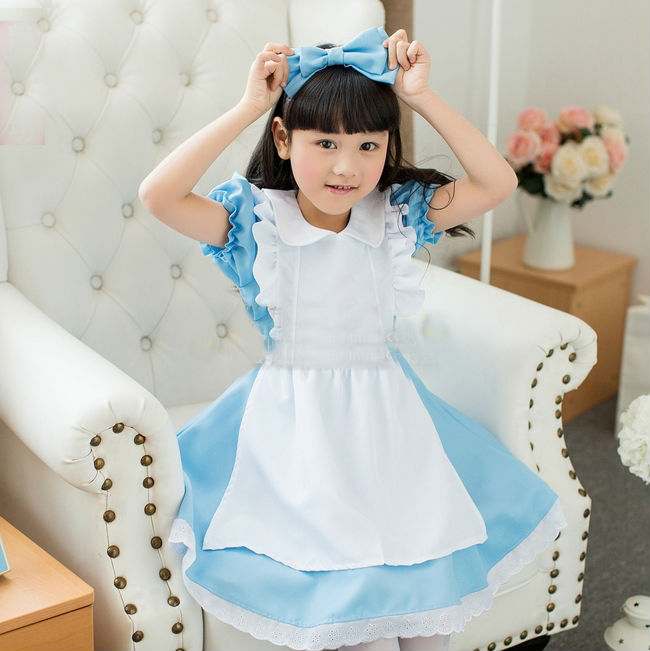 Girl Japanese Cosplay Costume Alice Kids Maid Sailor Lolita Dress Striped Blue Girl Costume Children Clothes Free headwear