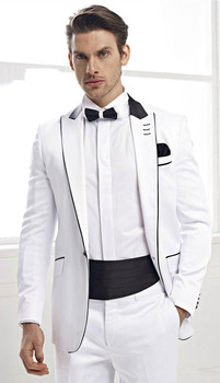 Fashion Design White Groom Tuxedos Groomsmen Mens Wedding Party Dinner Best Man Suits Blazer (Jacket+Pants+Tie) K:2105