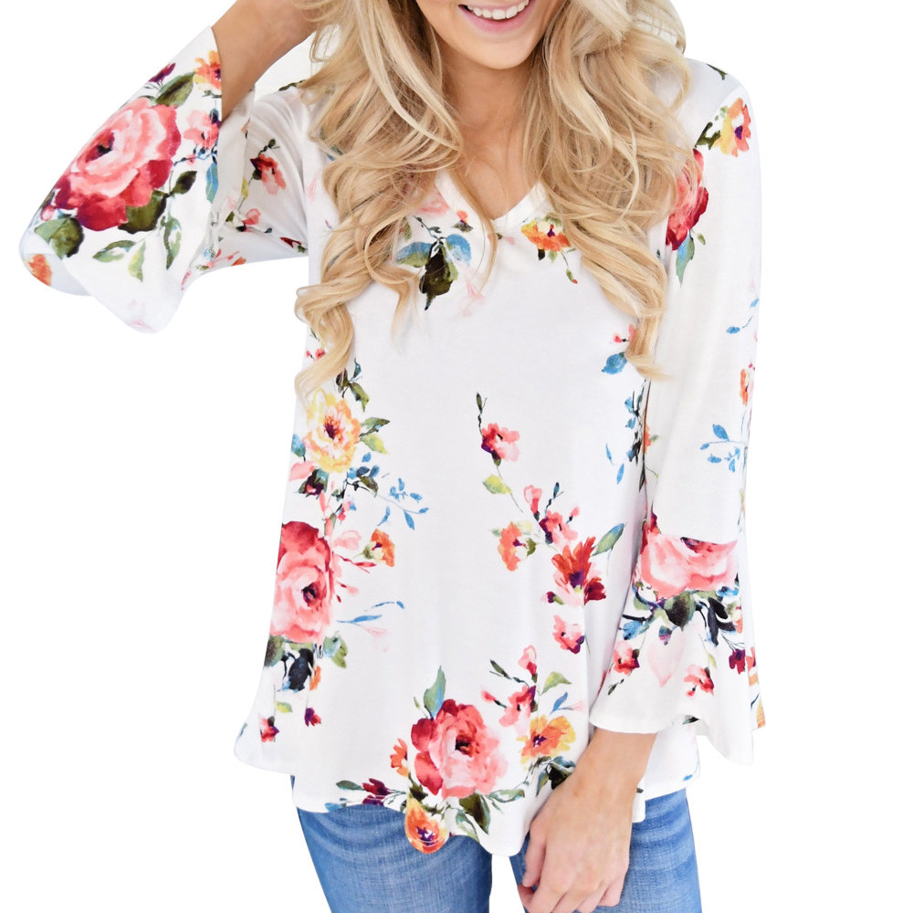 Autumn V Neck Flare Sleeve Floral Printing Long Sleeve Tops Women Plus Size Blouse Camisas Femininas