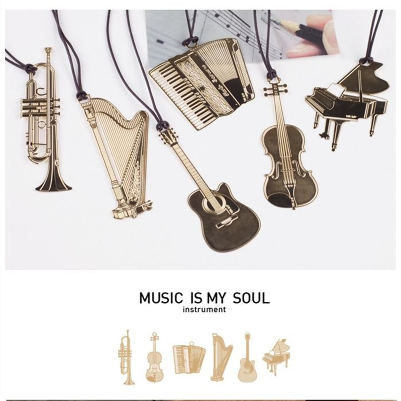 6pcs Music Metal Bookmark Gold Color Musical Instrument Piano Violin Harp Guitar Bookmarks Book Marker Office School A6832