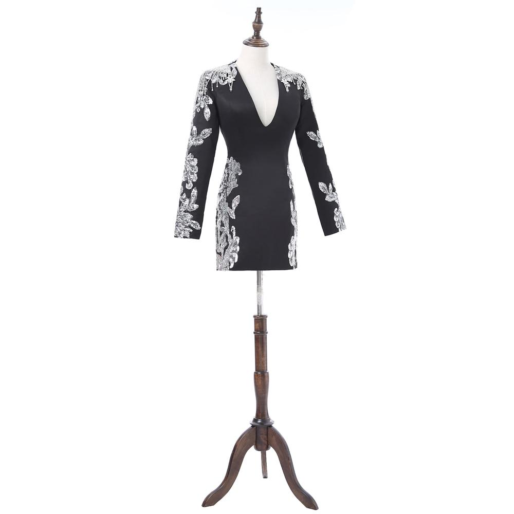 Black 2018 Formal Celebrity Dresses Sheath Deep V-neck Long Sleeves Short Mini Sequins Open Back Famous Red Carpet Dresses