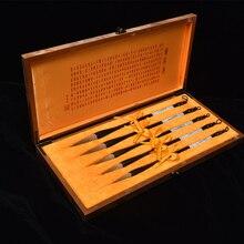7 шт./компл. высококачественная шерсть ласки кисточка для китайской каллиграфии ручка каллиграфия обычный скрипт кисть китайская живопись кисти подарочный набор