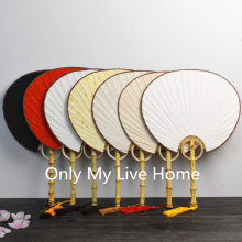 Large Handle DIY White Red Black Hand Fan Traditional Craft Chinese Rice Paper Decoration Bamboo Root Ladies Fans