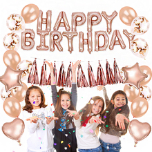Rose Gold Birthday Party Decoration Kit Foil Balloons Happy Star Heart Confetti Inflatable Ballon Tassel Garland Kids