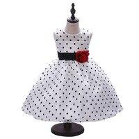 Kid Clothing Girl Dresses Cotton Classic White Black Polka Dots Princess Dresses Children Dancing Dress For