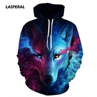 LASPERAL Hot Sale Brand Wolf Printed Hoodies Men 3D Sweatshirt Quality Plus Size Pullover Novelty Streetwear