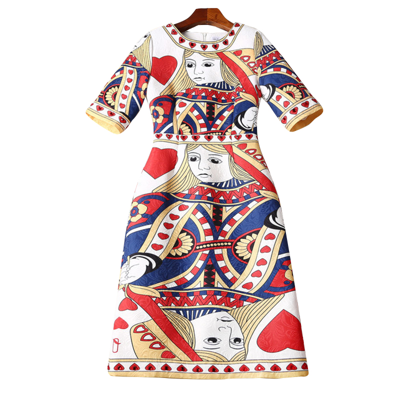 Women Dress 2019 High Quality Spring Runway Dresses O neck Half Sleeve Playing cards Jacquard Printed