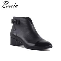 Bacia New Women High Heels Ankle Boots Genuine Leather Shoes Short Plush Inside Sheepskin Autumn Fashion Black Botas SA072