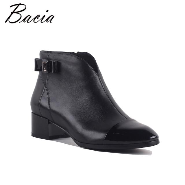 Bacia/новые женские ботильоны на высоком каблуке Пояса из натуральной кожи Обувь Короткие Плюшевые ботинки внутри овчины осень модные черные Botas sa072