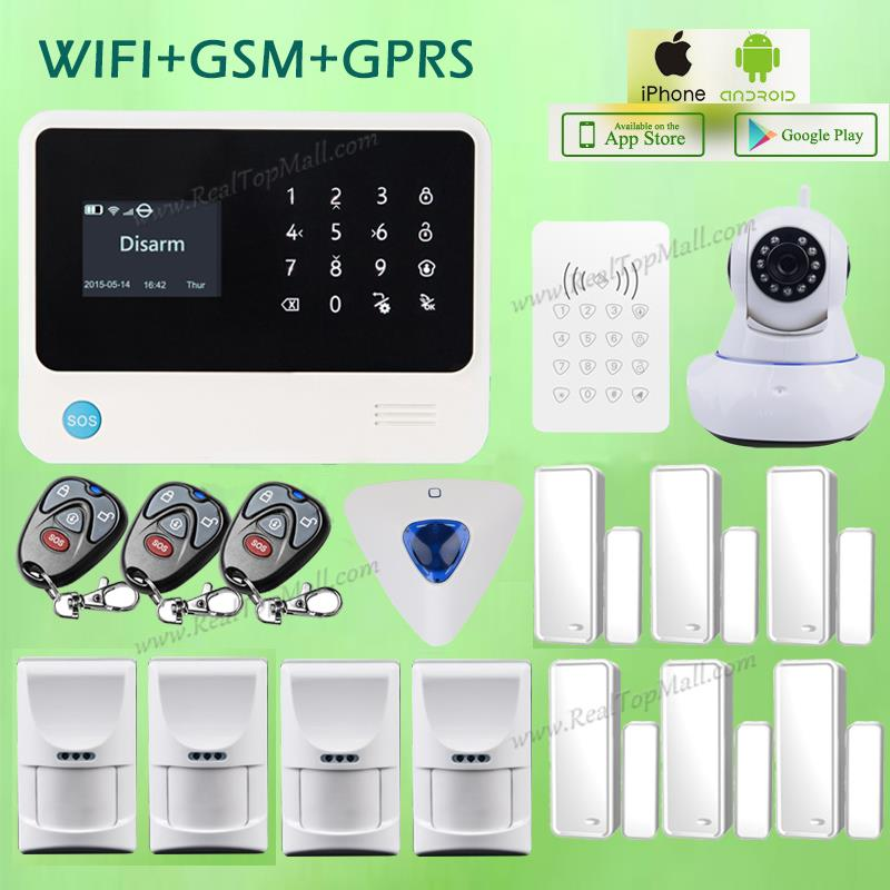 Android Iphone Controlled Wired Wireless Wifi GSM GPRS Home Security Alarm System w Pet Friendly Motion Sensor and WIFI Camera diysecur wireless and wired gsm automatic dialing alarm system m2bx pet friendly home security