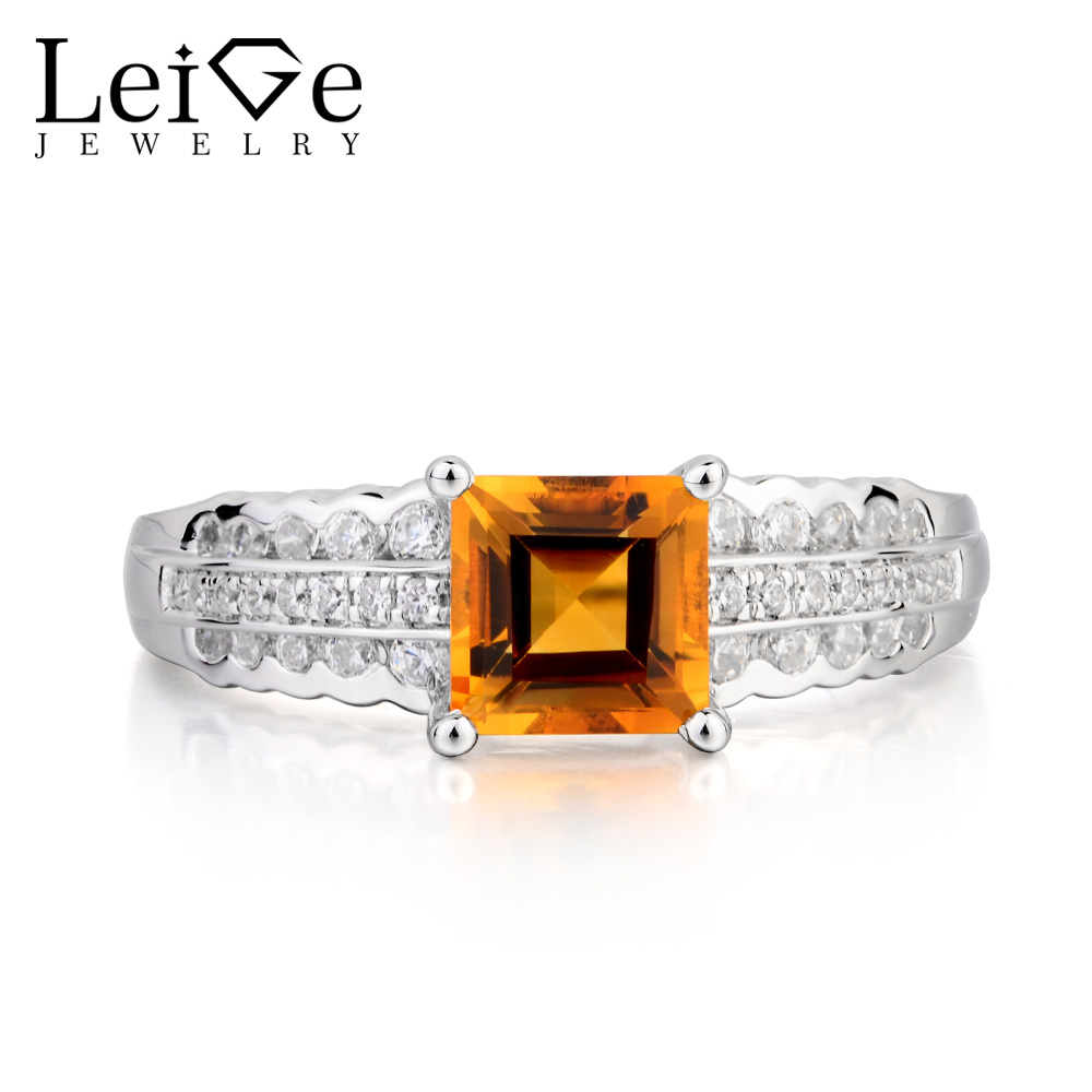 Leige Jewelry Natural Citrine Ring Citrine Engagement Ring Princess Cut Yellow Gemstone 925 Sterling Silver Gifts for Women топ женский insight citrine yellow