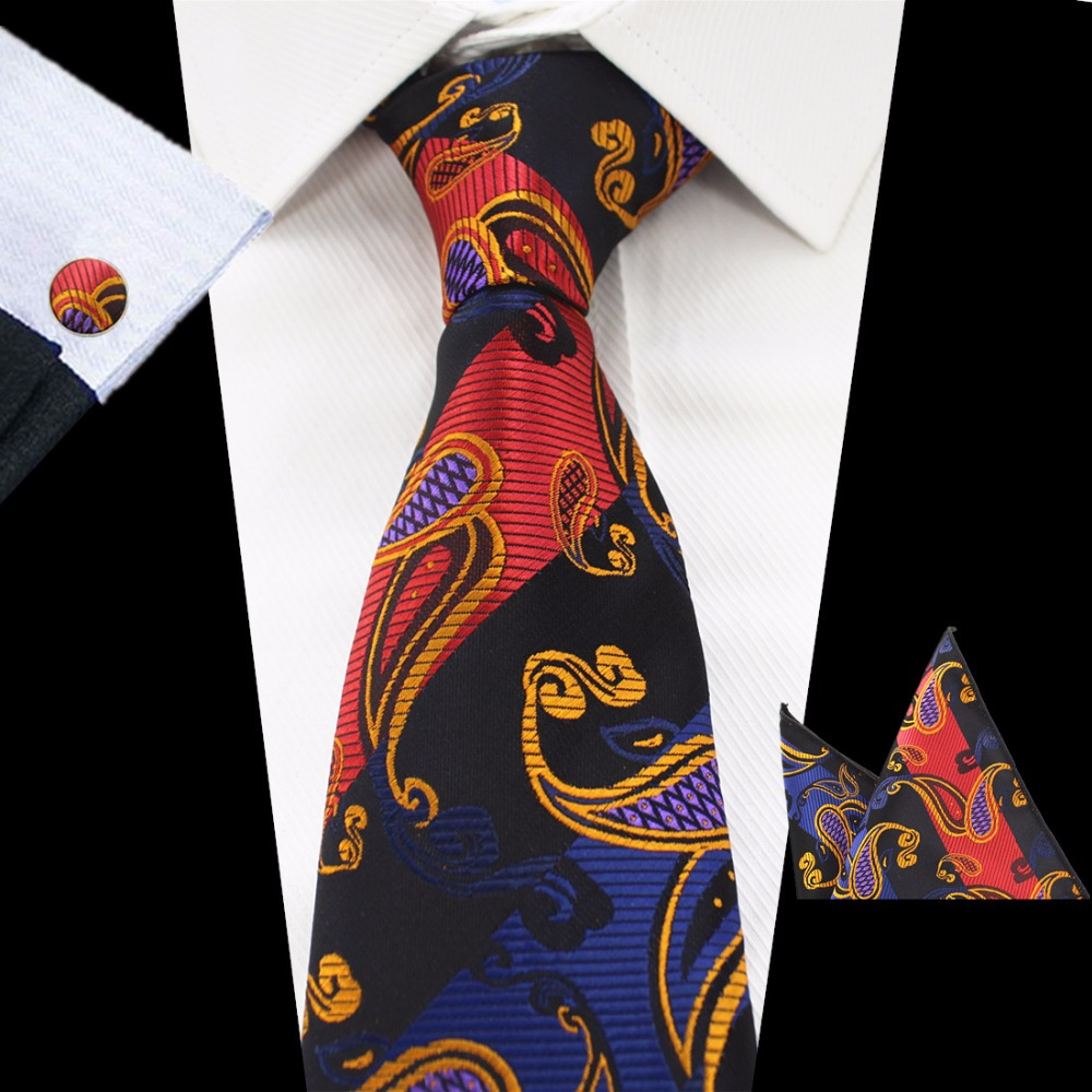 GUSLESON Brand Men`s Classic Tie Silk Novelty Striped and Paisley Tie Hanky Cufflinks Sets For Men`s Wedding Business Party