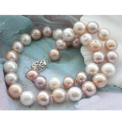 все цены на Fashion Women Pearl Jewellery,AA 11-13mm Huge White Pink Round Freshwater Cultured Pearl Necklace,Wholesale ,New Free Shipping