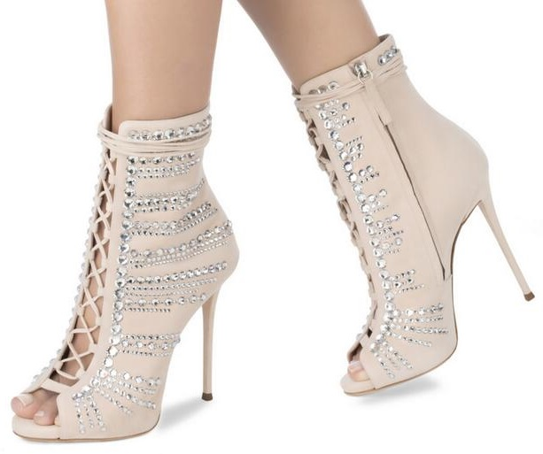 Women Crystal Ankle Boots Peep Toe Lace-up Gladiator Sandals Boots Thin Heels Cut-out Dress Shoes Sexy Spring Autumn Boots