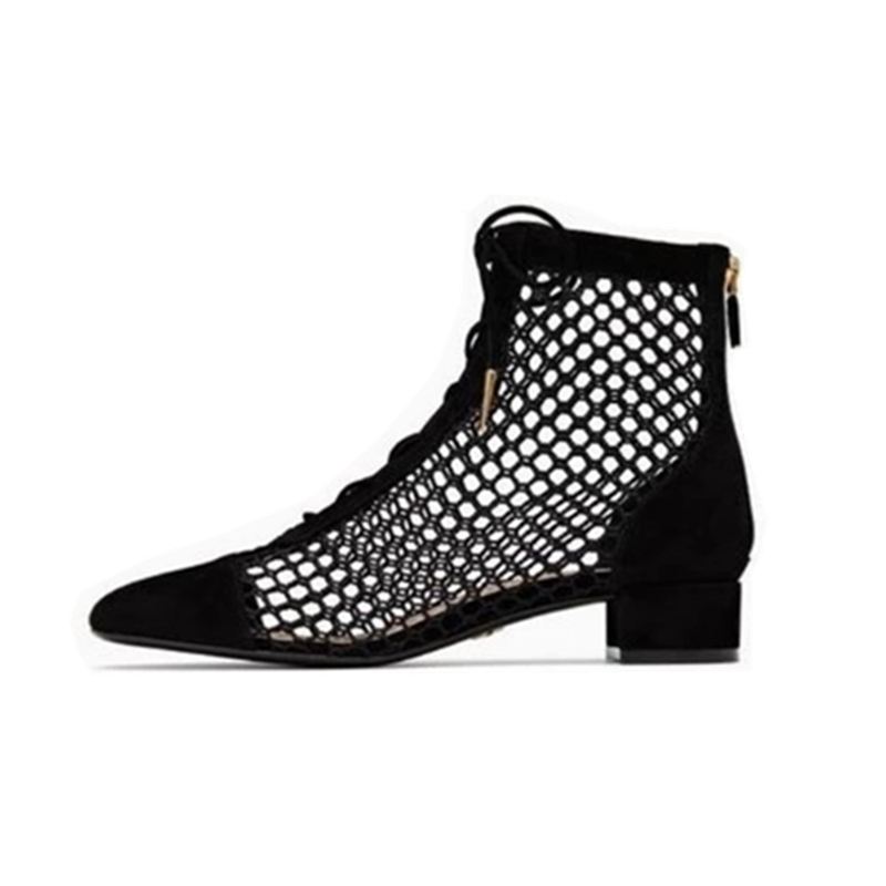 New fashion mesh sandals summer women's mesh hollow out chunky high heels shoes woman black sliver pumps Ankle Strap Sandals new fashion rivet hollowed out women sandals round toe chunky high heels ankle buckle female sandals mesh ladies leisure shoes