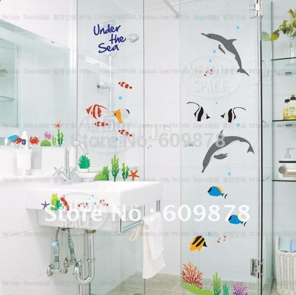 Free Shipping Large Under The Sea Dolphin And Fish Bathroom Tile Wall  Decoration Stickers Kids Romm Decal In Wall Stickers From Home U0026 Garden On  ...