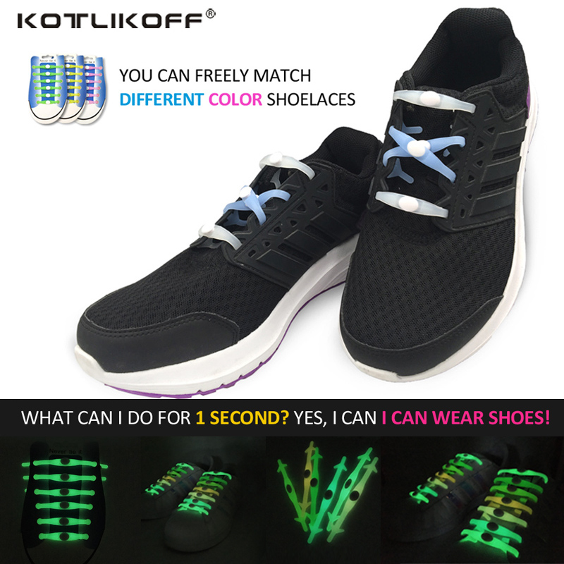 KOTLIKOFF Adult Children No Tie  Luminous Shoelace Silicone Shoelaces Colorful Elastic S ...