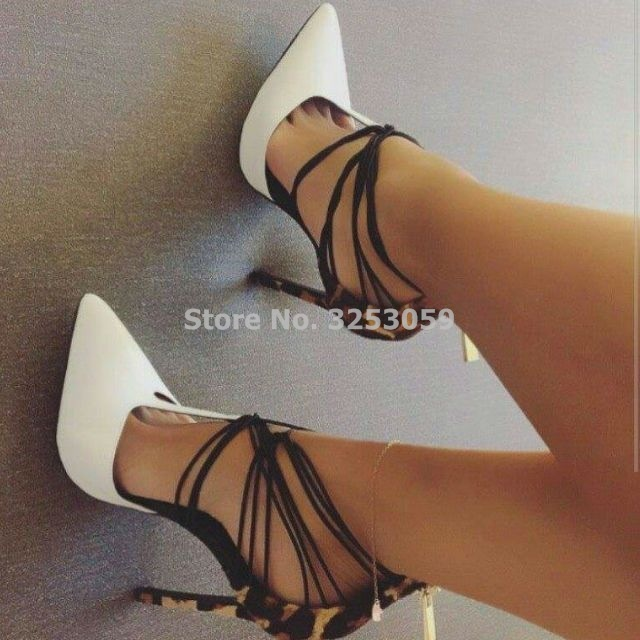 High End Customized White Pointed Toe Dress Pumps Leopard Heel Patchwork Party Shoes Thin High Heel Cross Strappy T-shape Pumps 2018 sexy horsehair high heel shoes woman pointed toe leopard metal thin heel pumps women fashion party shoes dress