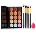 Makeup Palette Set 15 Colors Concealer Cream 4pcs Make Up Brushes Set 1PC Spong Powder Puff Sponge Makeup Kit Cosmetic Set FE#8