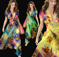 Groothandel 1 Meter (breedte 135 cm) 100% Echt Moerbei Zijde Chiffon Print Blauw Groen Geel Bloemen Stof Voor Jurk DIY Naaien