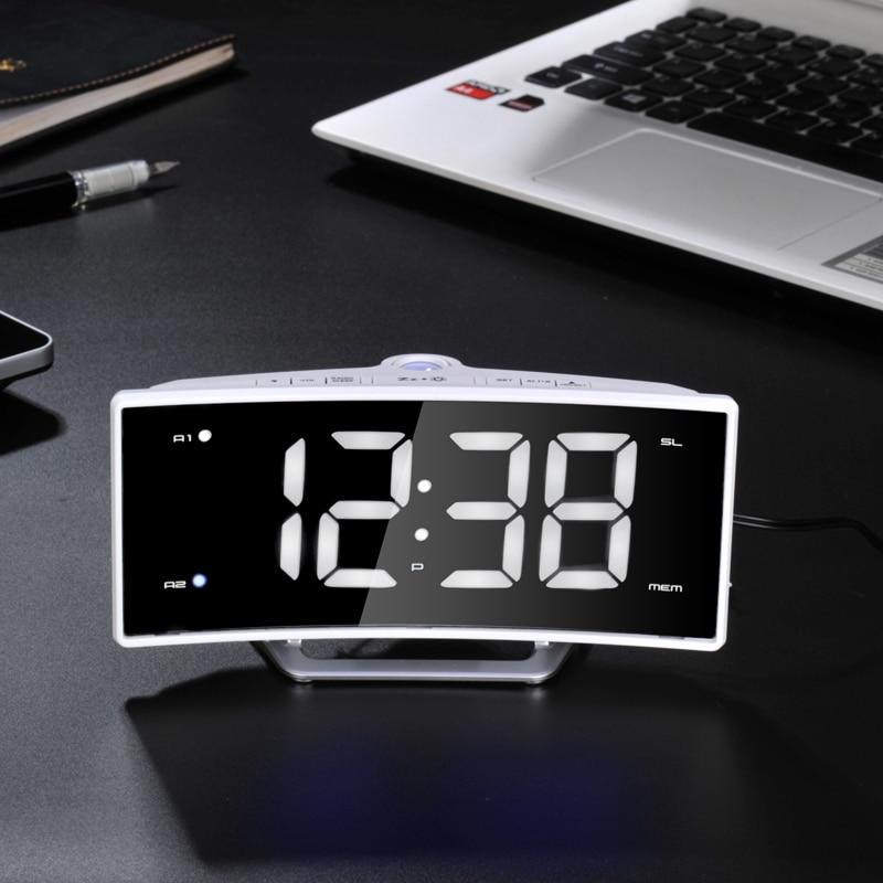 2017 New Radio Projection Alarm Clock LED Mirror Electronic Luminova Double-Barrelled Clock Charging Display Desk Watch Gadgets