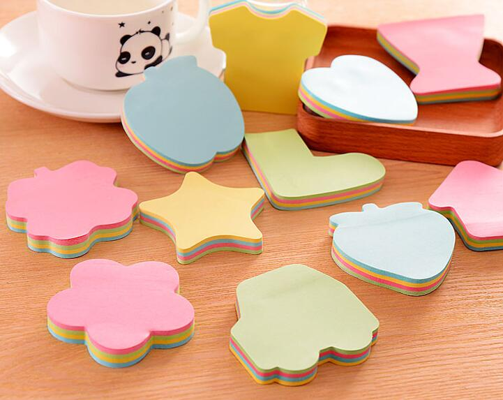 100 Sheets /pcs Peculiar Shape Sticky Note , Christmas Tree / Heart / Star / House / Apple Shaped Sticky Notes As Memo Pads